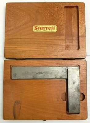 """Starrett No 55 4.5"""" Machinists Square in Case Vintage Tools"""