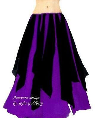 Ameynra Belly Dance Chiffon Skirt with Petals Purple Black bicolor New All sizes