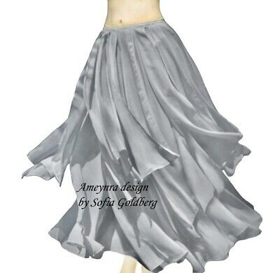 Ameynra Belly Dance Chiffon Skirt with Petals. GRAY. All sizes available