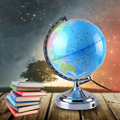 Illuminated World Globe Map Rotating Earth Geography Teach Educational Toy Gift
