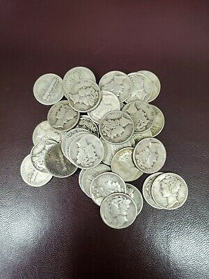 CHOOSE HOW MANY 5 1916-1945 Circulated 90/% Silver Coins Lot Mercury Dimes