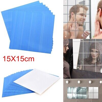 Glass Mirror Tiles Wall Sticker Square Self Adhesive Stick On Art DIY Home Decor