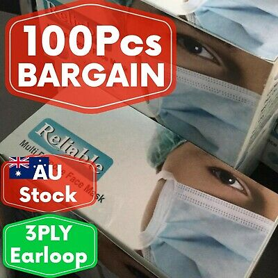 MEGA DEAL100pcs disposable 3Ply surgical face mask earloop. AU Stock Free Ship*