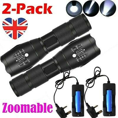 2x Police 900000LM T6 LED 18650 Super Bright Zoom Flashlight Powerful Lamp Torch