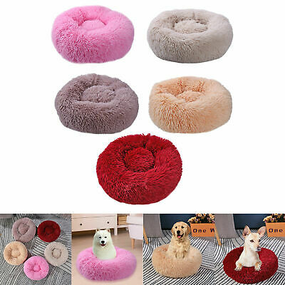 Pet Dog Cat Calming Bed Warm Soft Plush Round Cute Nest Comfortable Sleeping RM#
