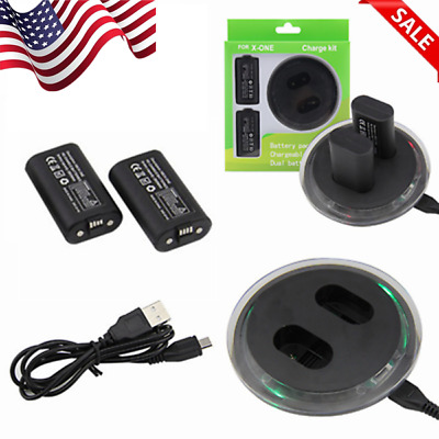For XBOX ONE Controller Play Charging Cable + 2 Pack Rechargeable Battery US