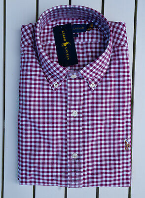 Mens Polo Ralph Lauren Red Oxford Stretch Cotton Shirt Slim Fit Various Sizes