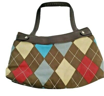 Thirty One Skirt Purse Brown With Multicolor Argyle Red Tan Gray Retired Handbag
