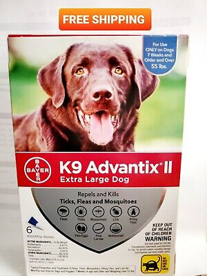 K9 ADVANTIX II FOR Extra Large DOGS over 55 LBS BAYER 6 Monthly Doses