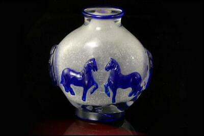 Old Chinese Blue Cameo On Clear Peking Glass Horse Snuff Bottle D124-17