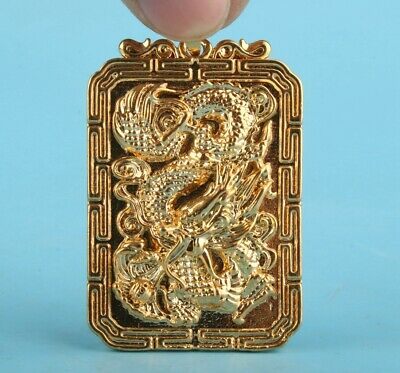 Precious Chinese Gulch-Gold Hand-Carved Dragon Statue Necklace Pendant Gift