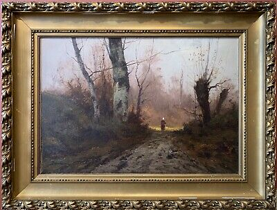 Daniel Duchemin (1866-1930) Signed French Oil - Figure Walking Sunset Woodland