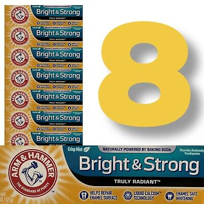 8 ARM HAMMER Bright Strong Truly Radiant Toothpaste Mint 4.3oz Lot Whitening US