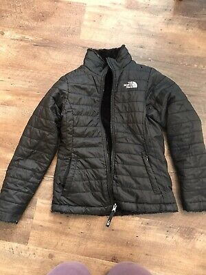 Youth girls size small **NORTH FACE ** reversible black coat** Good Condition**
