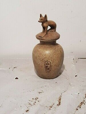 Rare Antique Ancient Egyptian Funeral Vessel God Bastet Cat Food watr1750-1680BC