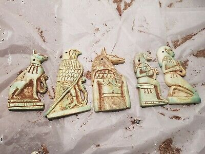 Rare Antique Ancient Egyptian 5 Amulets protecfion Gods Bastet Horus1740-1670BC