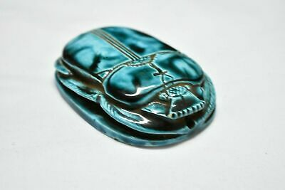 Rare ancient egyptian antique large glazed faience scarab b 1550-1069 bc