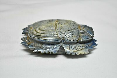 Rare ancient egyptian antique large glazed faience scarab f 1550-1069 bc