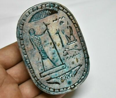 Rare ancient egyptian antique large glazed faience scarab a 1550-1069 bc