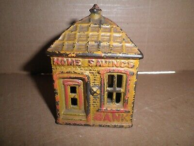 Great old original cast iron yellow Home Savings Bank building still bank c.1891