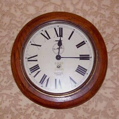 "Antique Wall Clock Original British Rail Oak Station Clock 8""Dial B.r.(M) 22258"