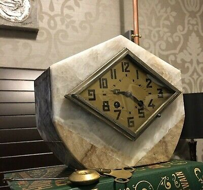 STYLISH MARBLE ART DECO 1930's  FRENCH CLOCK WITH KEY & PENDULUM.