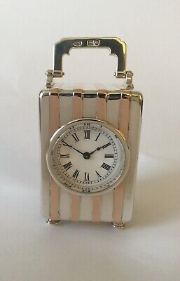 Antique Silver And Rose Gold Carriage Clock