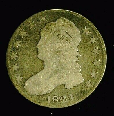 1824 CAPPED BUST SILVER HALF 50c    (8948)