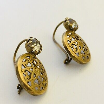 Ancient Roman Earrings Bronze Very Rare Type Artifact Antique Old Museum Qualit