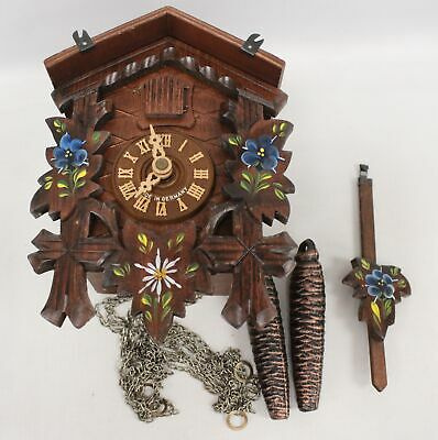 Vintage Wooden CUCKOO CLOCK Black Forest Germany SPARES/REPAIRS - E35
