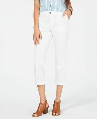 STYLE & CO Cotton Blend Bright White Midrise Slim Leg Capri Pants NWT 14P
