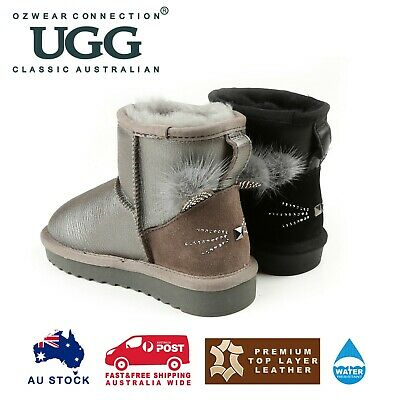 Ozwear Ugg Kids Millie Cat Mini Boots (Water Resistant) 2 Colours Ob393