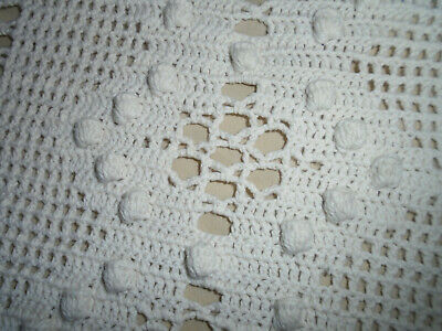 Estate Vintage Crocheted White Bedspread Tablecloth Bedspread Coverlet  78'' X