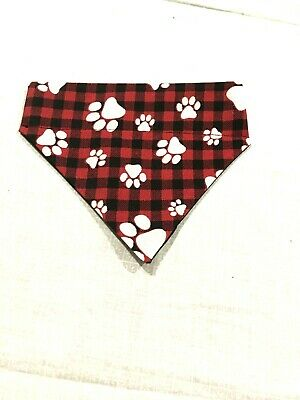 Over Collar Slide On Pet Dog Cat Bandana Scarf  RED PLAID & PAWS  SMALL / MED
