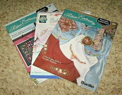 Lot Of 3 Silk Ribbon Embroidery Booklets~Beginner & Wearabe~Sc~Gd/Vgc~~Lot #C