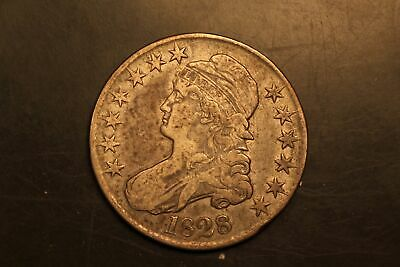 1828 Capped Bust 50c Silver F Fine scarce variety! O-104 r.3 #RB4-7050