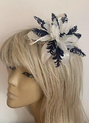 Girls/Ladies Cream/Navy Blue Hair Fascinator Headpiece Bridesmaids Wedding Races