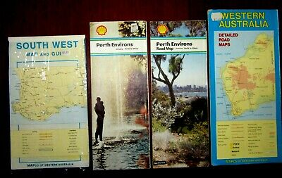 4 x Vintage Road Maps Perth Environs South West Western Australia Shell