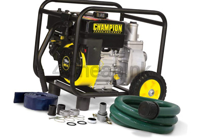 Champion 2-Inch Gas-Powered Semi-Trash Water Transfer Pump with Hose and Whee...
