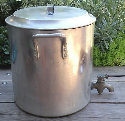 Large Vintage Moseley Brand Australian Aluminium Stock Pot With Tap