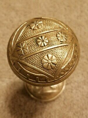 2 Antique Victorian Eastlake Solid Brass Door Knobs Set #4