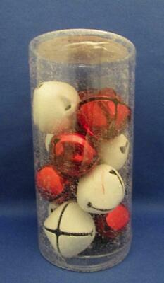 12 pc Christmas Red & White Jingle Bells 1.4 in. / 38 mm - Ashland - New