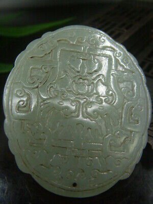 Chinese Antique Celadon Nephrite Hetian- Jade Double faced Dragon Statue/Pendant