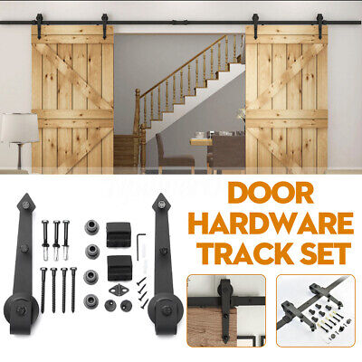 1.8M/2M/2.4M Sliding Barn Wood Door Closet Hardware Track System Set