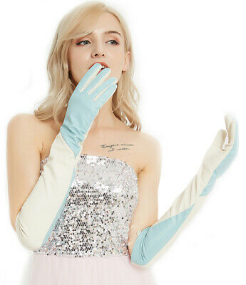 Custom made women elbow  real leather elbow long gloves combined  two colors