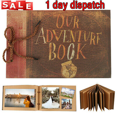 UK Top Vintage Photo Album Scrapbook Our Adventure Book Memory DIY Anniversary