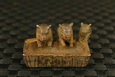 chinese bronze three eating pig statue tea pet table collectable ornament gift