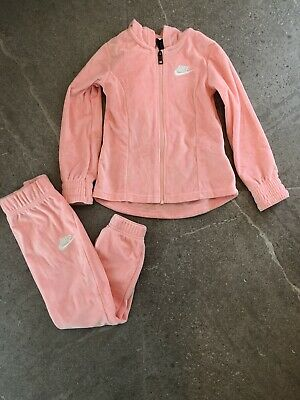 NEW - Girls Nike Velour Tracksuit - Pink - Size 4-5
