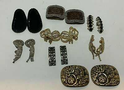 Lot of 8 Pair Vintage Shoe Clips Rhinestone Two Musi