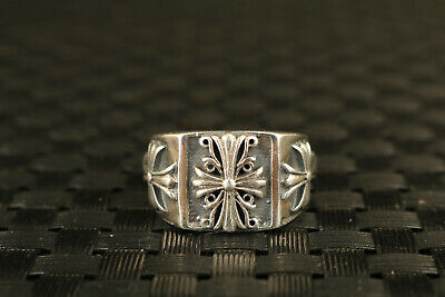 Chinese old simple 100% 925 silver hand cross flower statue ring collectable